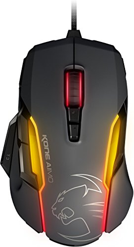 ROCCAT KONE Aimo Gaming Mouse - High Precision, Optical Owl-Eye Sensor (100 to 12.000 DPI), RGB Aimo LED Illumination, 23 Programmable Keys, Designed in Germany, USB, Gray