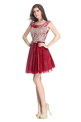 Fanciest Damen Kleider Kurz Heimkehr Burgundy Gowns Abendkleider 2016 Embroidery rrqBwSngC1