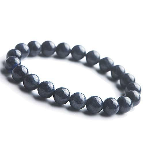 9mm Genuine Blue Natural Sapphire Gemstone Stretch Crystal Round Beads ()