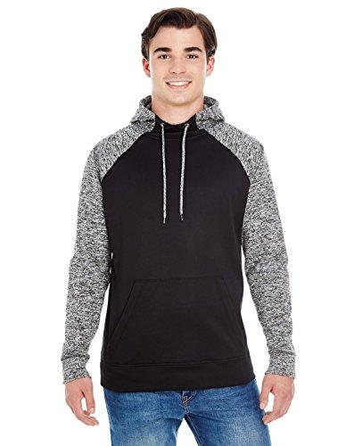 Fleck Jumper (J. America - Hooded Pullover Sweatshirt - 8612-LG-Black- Charcoal Fleck)