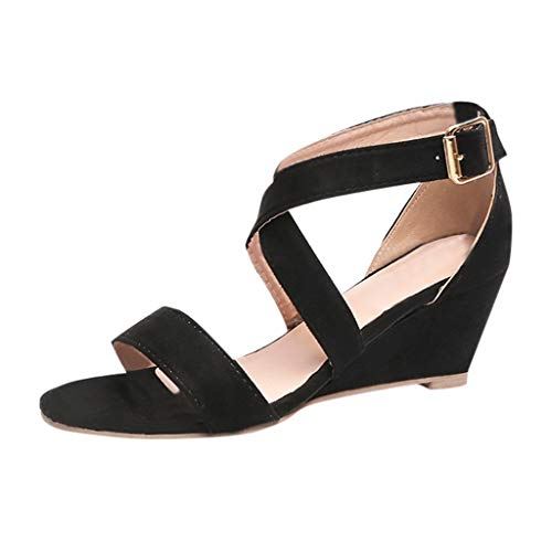 Respctful✿Casual Sandal Wedge Women's Strappy Sandal Spring Casual Open Toe Espadrille Wedge Shoe