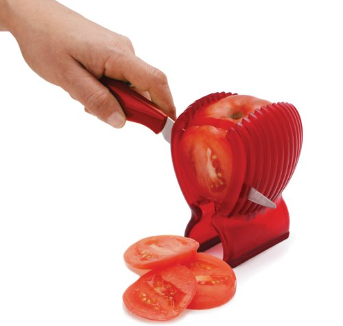 MSC International 31667 Joie Tomato Slicer & Knife, 8x6-inches, Red 4 With this tomato slicer and knife you'll create perfect tomato slices everytime Made of durable plastic Easy to use; simply place tomato in slicer and slice with knife