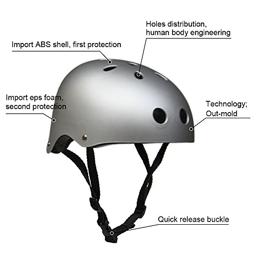Adult Skateboard Helmet 11-Vents Adjustable Straps Protective Skiing Skate Bike Cycling Helmet Multi Color with Liner for Bicycle Skateboard Outdoor Sports Size Medium Silver