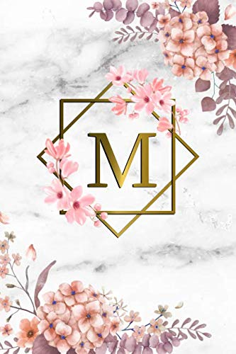Letter Notebook - M: Cute Initial Monogram Letter M College Ruled Notebook. Pretty Personalized Medium Lined Journal & Diary for Writing & Note Taking for Girls and Women - Grey Marble & Gold Pink Floral Print