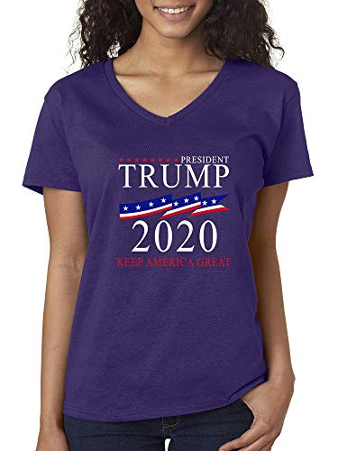 Trendy USA 1236 - Women's V-Neck T-Shirt President Trump 2020 Keep America Great Election Candidate Republican XL Purple America Womens V-neck T-shirt