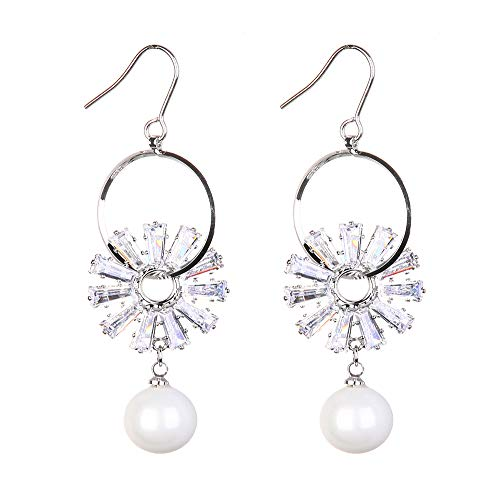 FASHION Sparkly Dangle Earring Simple Lightweight Hook Drop Earrings - Cut-Out Dangles Hoop with Flower&Acrylic Pearl