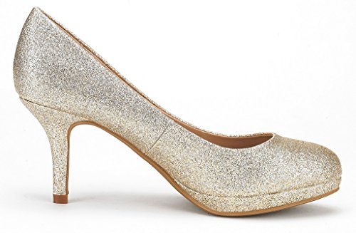 Rhinestone Glitter Women's PAIRS 1 Heel Platform Gold Shoes Party Wedding Bridal Pump ROMA Glitter Low DREAM SwxF8x