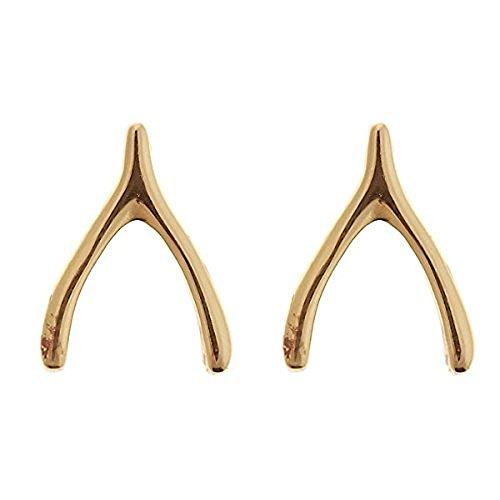 Wishbone Gold Rings (Sterling Forever - Gold Vermeil .925 Sterling Silver Wishbone Stud Earrings)