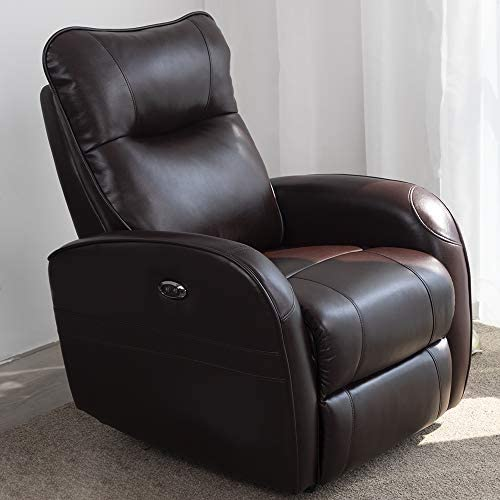 DMF Electric Recliner Chair W/Breath Leather and Modern Power Single Sofa Home Theater Recliner Seating W/USB Port Brown