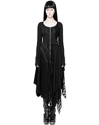 9a606a580378 Punk Rave Gothique Dieselpunk Robe Noire Manches Longues Dentelle  asymétrique Dystopian - Noir, XS