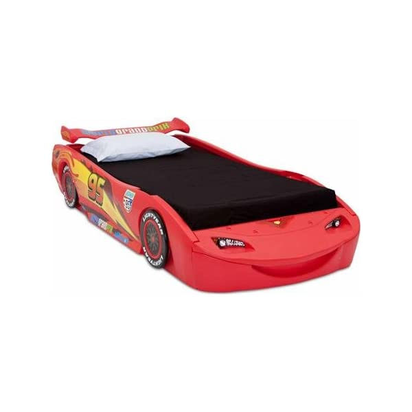 Disney - Cars Lightning McQueen Twin Bed with Lights Recommended For Kids Of All Ages 4
