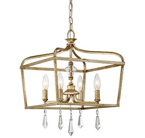 Gold Laurel Chandelier Crystal (Minka Lavery Ceiling Pendant Chandelier Lighting 4447-582 Laurel Estate, 4-Light Fixture 240 Watts, Brio Gold)