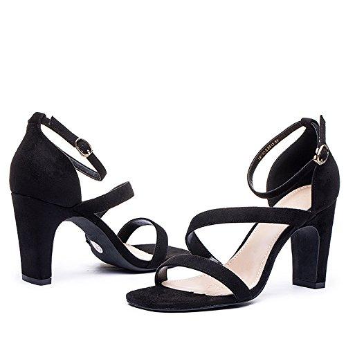 Ajunr Moda/elegante/Transpirable/Sandalias de Mujer Dinero nuevo verano una palabra banda talon tacon alto rough moler dedos de los pies 6-8cm 39