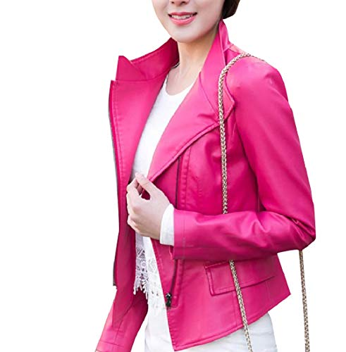 Leather Coat Outwear Red Howme Women Rose Fashionable Parka Oversized Jacket wEtqSq