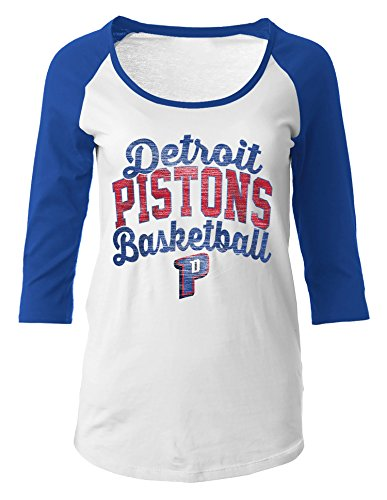 NBA Detroit Pistons Women's 100% Cotton Baby Jersey 3/4 Sleeve Scoop Neck Tee, Large, Blue