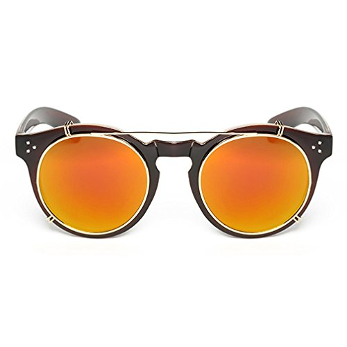 LOMOL Fashion Retro Personality Removable Clip-on lens Transparent Lens Round - Karen Buy Walker Sunglasses