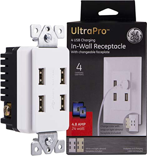 (GE Ultra Pro Receptacle, 4, Charging Station, USB Wall Outlet, Changeable Faceplate, UL Listed, White/Light Almond, 40542)