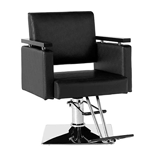 Barber Chair-SUNCOO Hair Classic Style Salon Chair,360 Degree Hydraulic Rotatable Beauty SPA Tattoo Hair Stylist Barber Equipement with Wood Armrest,Pedal,Chrome Square Chassis, Adjustable Height