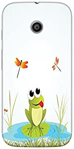 Snoogg Background With Frog Designer Protective Back Case Cover For Moto-E 2N...