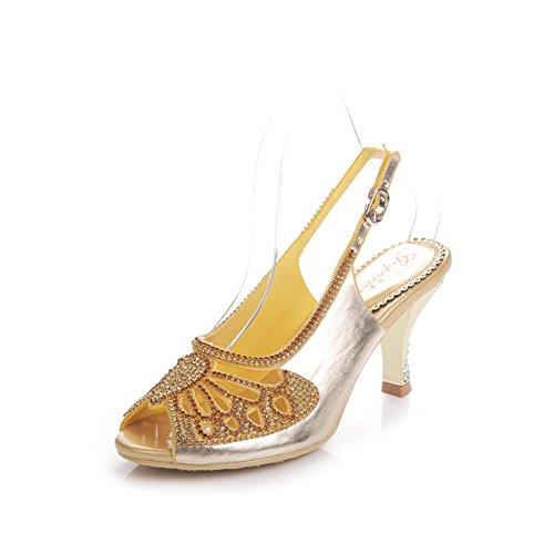 Zapatos de Mujer PU Summer Novedad Sandalias Tacón de Aguja Plataforma Peep Toe para el Vestido de Boda Fiesta y Noche Oro Negro Púrpura F