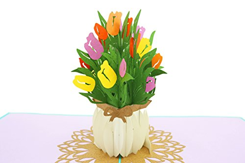 (PopLife Spring Tulip Bouquet 3D Mother's Day Pop Up Card - Anniversary Pop Up Easter Sunday Card, Happy Birthday - Gift for Her - Fold Flat for Mailing - for Mom, for Daughter, for Wife, for Grandma)