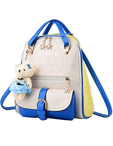Menschwear Moda Mujer Chica funda mochila escolar bolsa Negro Blanco Azul Blanco