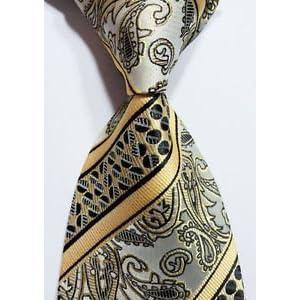 Scott Alone : New Classic Yellow Gray Black 100% New Paisley Jacquard Woven Silk Men's Tie Necktie