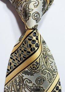 scott-alone-new-classic-yellow-gray-black-100-new-paisley-jacquard-woven-silk-mens-tie-necktie