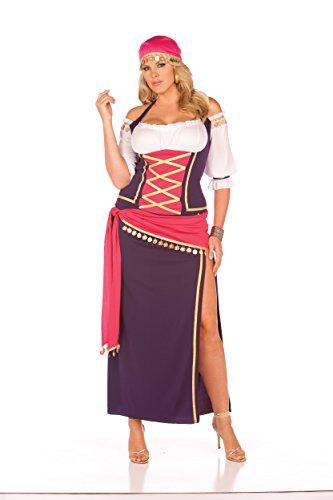 Zabeanco Gypsy Maiden 5 Piece Halloween Role Play Costume (1X/2X) -