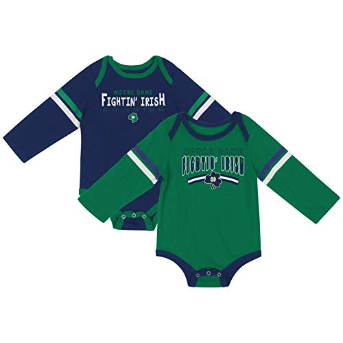 (Colosseum NCAA Long Sleeve Bodysuit 2-Pack-Newborn and Infant Sizes-Notre Dame Fighting Irish-3-6)