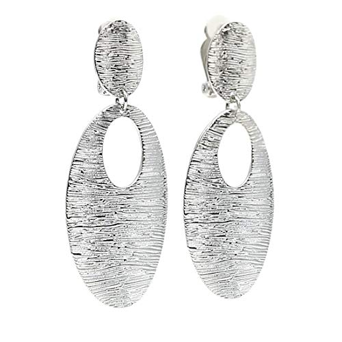 Textured Oval Disc Dangle Clip on Earrings Rhodium Plated Women Fashion ()
