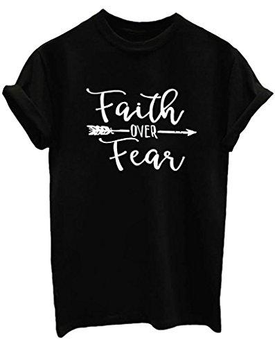 BLACKOO Women Cute T Shirt Juniors Graphic Tops Black Large -