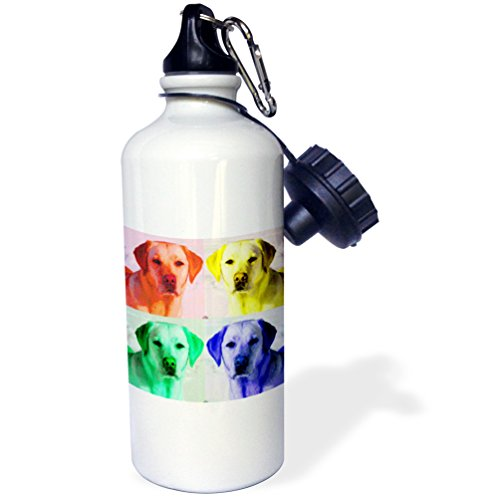 Labrador Retriever, dog, puppy, animal, pet, pop art Sports Water Bottle, 21 oz, Multicolor ()