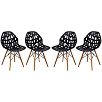 LeisureMod Calvert Modern Eiffel Base Side Dining Chair with Wood Dowel Legs in Black, Set of 4