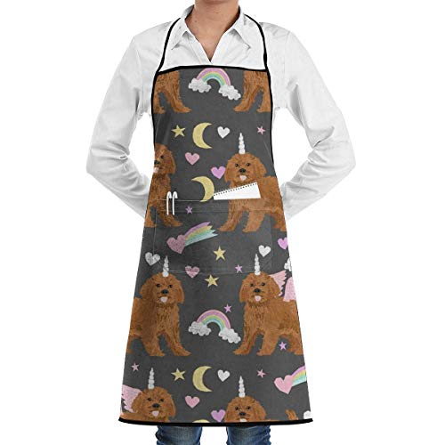 HGDGF Variety Apron Professionally Eco-Friendly Ruby Cavoodle Rainbow Dog Unicorn Adjustable Bib Apron with Pockets - Commercial Restaurant and Home Kitchen Apron - Neck Strap- Extra Long Ties - Stron from HGDGF Variety