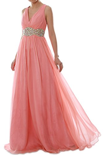 MACloth Women Straps V Neck Chiffon Long Prom Dress Wedding Formal Ball Gown Champagne