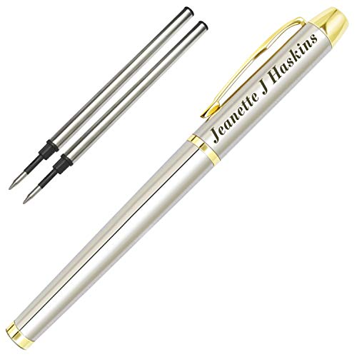 Personalized Pens,Custom Engraved Ballpoint Pen and Case,Personalized Gifts for Father,Boss,Office,Birthday and Graduation(Black Refill)-GoldSilver