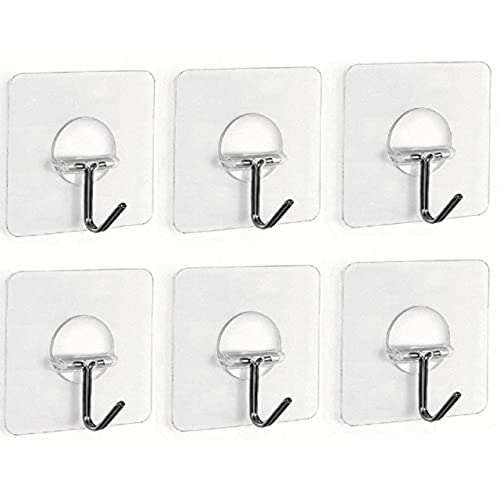 Fealkira 13.2lb/6kg(Max) Utility Adhesive Stainless Steel Wall Hooks for  Towel Loofah Bathrobe Coats,Bathroom Kitchen Nail Free Transparent Heavy  Duty Wall ...