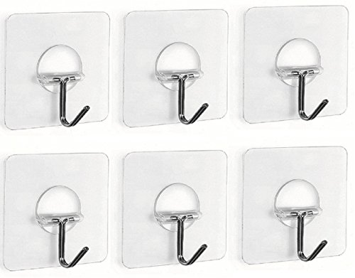 Fealkira 13.2lb/6kg(Max) Utility Adhesive Stainless Steel Wall Hooks for Towel Loofah Bathrobe Coats,Bathroom Kitchen Nail Free Transparent Heavy Duty Wall Hook & Ceiling Hanger(6pcs)