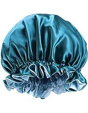 قبعة للنوم من الصوف من KESYOO مزدوجة الطبقة من الساتان قبعة نوم كبيرة مستديرة للنساء قبعة ليلية قبعة شعر صالون التجميل للنساء (بيكوك بلو)