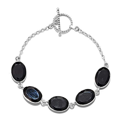 925 Sterling Silver Handmade Black Onyx Toggle Clasp Bracelet for Women Gift Jewelry 7.25
