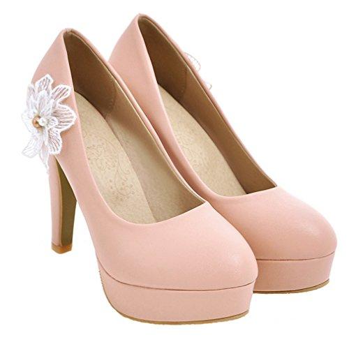 YE Damen Geschlossen Stiletto High Heel Plateau Pumps mit Blumen Perlen Strass Braut Schuhe für Hochzeit Rosa