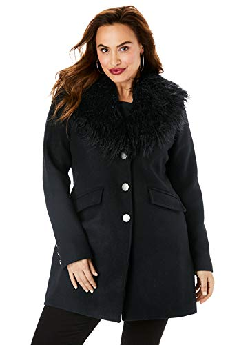 Roamans Women's Plus Size Short Wool-Blend Coat - Black, 22 W (Romans Coats)