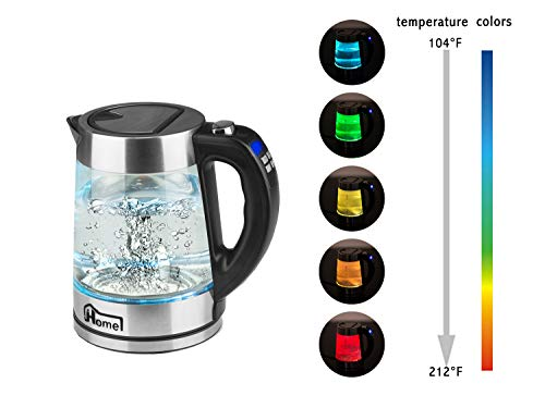 JHome Electric Kettle Temperature Control With 5 Colors Changing LED Lights, 1.8L BPA Free Glass Tea Kettle (Keep Warm & Digital Display)