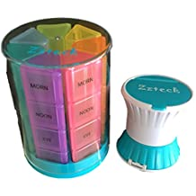7 Day Small Tower Pill Box Organizer- With Smart Pill Crusher Pill Cutter included