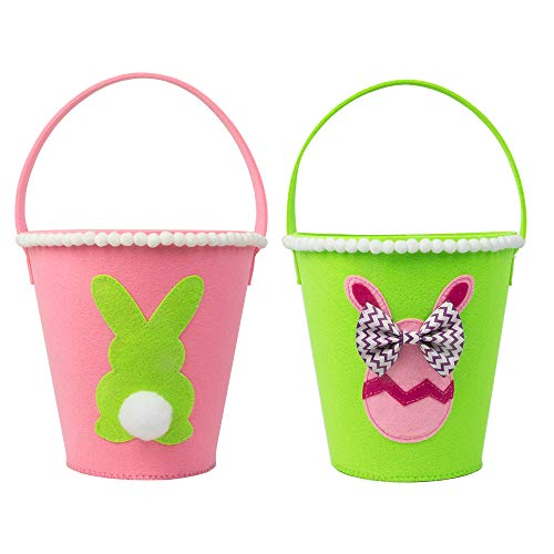 KI Store Easter Baskets Easter Egg Buckets Bags Bulk for Easter Egg Hunt Party Set of 2 for Kids Toddlers Girls]()