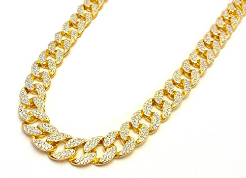 14k Gold Plated CZ Cuban Link Chain Necklace Hip Hop Iced Out Short Chains (Chain Link T-shirt)