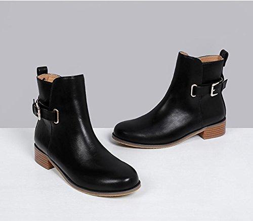 cremallera black invierno Martin Boot cinturon de de afeitarse ronda lateral botas zapatos de hebilla KHSKX La y nueva mujeres con botas UIRYqAw