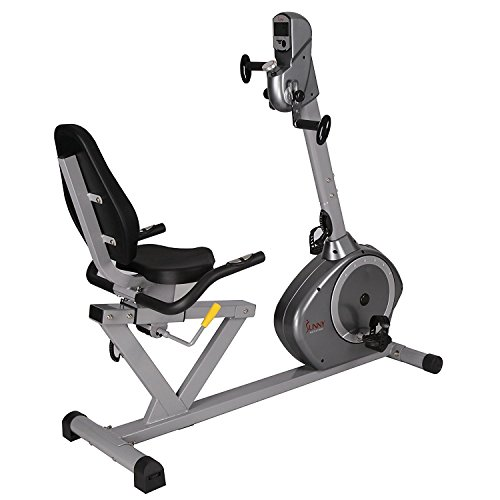Sunny Health & Fitness Magnetic Recumbent Bike Exercise Bike, 350lb High Weight Capacity, Arm Exercisers, Monitor, Pulse Rate Monitoring - SF-RB4631