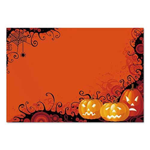 Large Wall Mural Sticker [ Spider Web,Three Halloween Pumpkins Abstract Black Web Pattern Trick or Treat Decorative,Orange Marigold Black ] Self-adhesive Vinyl Wallpaper / Removable Modern Decorating -